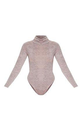 Blush Roll Neck Long Sleeve Bodysuit   Tops   PrettyLittleThing USA