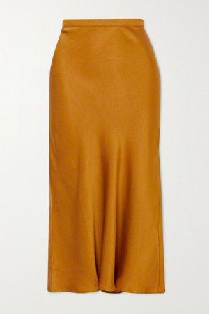 Bar Silk-satin Midi Skirt - Gold