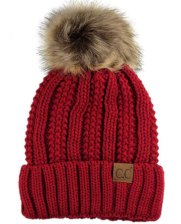 C.C Thick Cable Knit Faux Fuzzy Fur Pom Fleece Lined Skull Cap Cuff Beanie, Red at Amazon Women's Clothing store