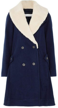 Oversized Shearling-trimmed Wool Coat - Navy