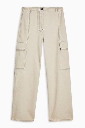 PETITE Stone Wide Leg Utility Trousers   Topshop