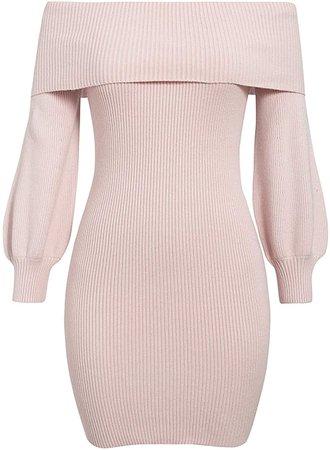 Amazon.com Women Knitted Dress Off Shoulder Long Sleeve Autumn Winter Soft Sweater Dress Offices