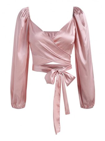 [29% OFF] 2021 Satin Puff Sleeve Crop Wrap Blouse In LIGHT PINK   ZAFUL