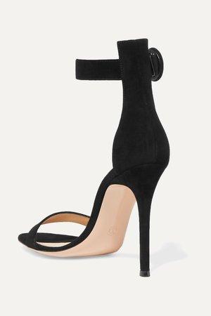 Black Portofino 105 suede sandals   Gianvito Rossi   NET-A-PORTER