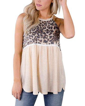 CNJFJ Womens Summer Halter Neck Tank Tops Tunic Sleeveless Shirt Cotton High Crew Neck Cami Blouse at Amazon Women's Clothing store