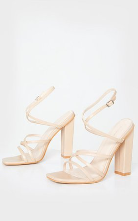 Nude Chunky Heel Strappy Square Toe Heeled Sandals | PrettyLittleThing USA