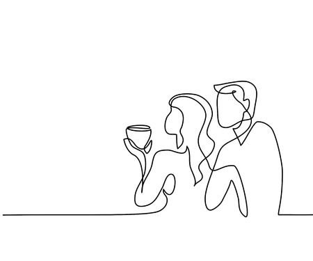Continuous Line Drawing. Young Couple Drinking Coffee. Vector.. Royalty Free Cliparts, Vectors, And Stock Illustration. Image 86058637.