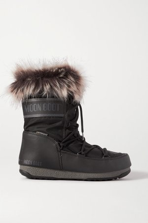 Monaco Faux Fur-trimmed Shell And Faux Leather Snow Boots - Black