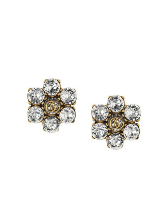 Shop Gucci crystal-embellished Double G clip-on earrings with Express Delivery - FARFETCH