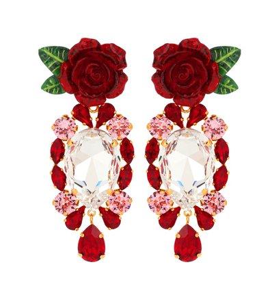 Rose Crystal Drop Earrings - Dolce & Gabbana | mytheresa.com