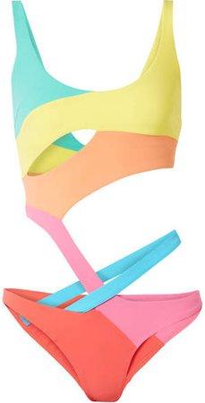 Izaro Cutout Color-block Swimsuit - Yellow