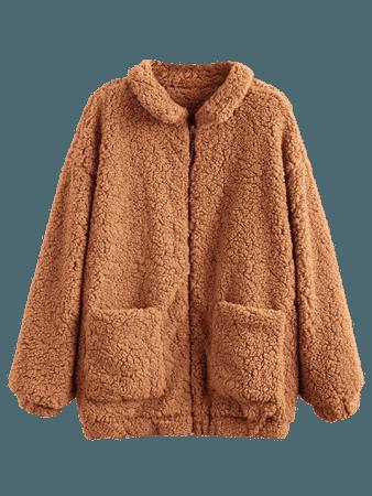 Slip Pockets Faux Fur Teddy Coat