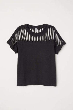 Rip-patterned Jersey Top - Black