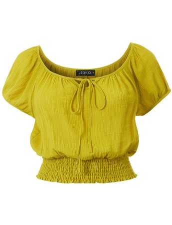 LE3NO Womens Casual Short Sleeve Smocked Boho Crinkled Cropped Blouse Top | LE3NO yellow