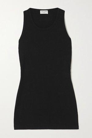 Black Cotton-jersey tank | SAINT LAURENT | NET-A-PORTER