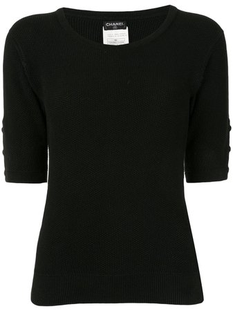 Chanel Pre-Owned 1996s CC Round Neck Short Sleeve Knit Tops - Farfetch