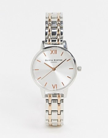 Olivia Burton sunray bracelet watch in silver and rose gold | ASOS