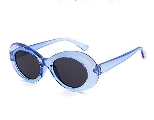 90s-Style blue transparent frame grey lens Oval Sunglasses unisex Retro Vintage Sunglasses JE091: Amazon.ae: YYYT_uae