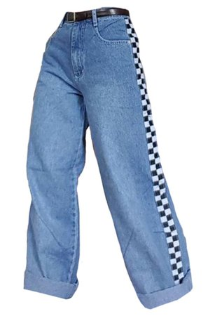checkered striped jeans