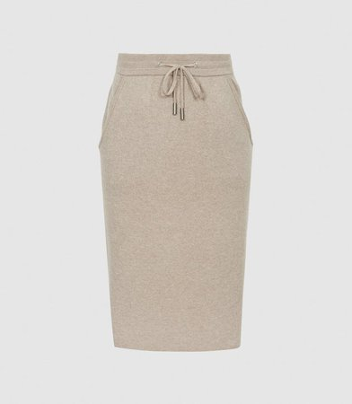 Connie Neutral Knitted Midi Skirt – REISS