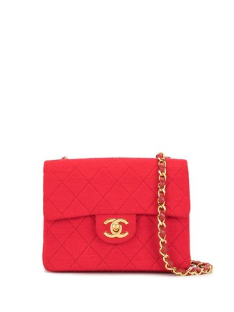 Chanel Pre-Owned 1985-1993 CC diamond-quilted shoulder bag red 0702335 - Farfetch