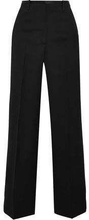 Ilya Satin-trimmed Wool Wide-leg Pants