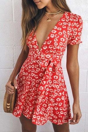 Flirty Red Floral Print Dress - Floral Mini Dress - Sundress - Lulus