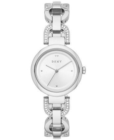 DKNY Women's Eastside Stainless Steel Pavé Chain Bracelet Watch 30mm  - Watches  - Macy's