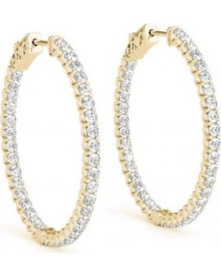 14K Yellow Gold 43mm Double Sided Diamond Hoop Earrings