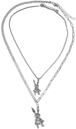 YERTTER Heavy Gothic Grunge Rabbit Pendant Necklace Statement Long Chain Punk Multilayer Steel Material Choker Necklace for Women and Men | Amazon.com