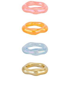 8 Other Reasons Orange Pastel Ring Set in Multi   REVOLVE