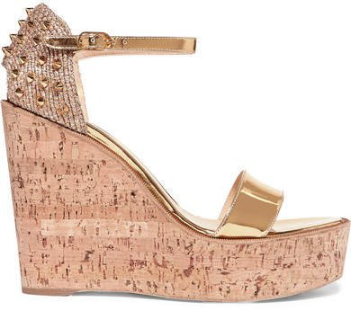 Bellamonica 120 Spiked Metallic Jute And Leather Wedge Sandals - Gold