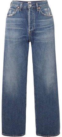 Joanna Cropped Mid-rise Straight-leg Jeans - Mid denim