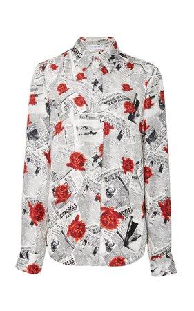 Newspaper Print w/ Red Roses Shirt
