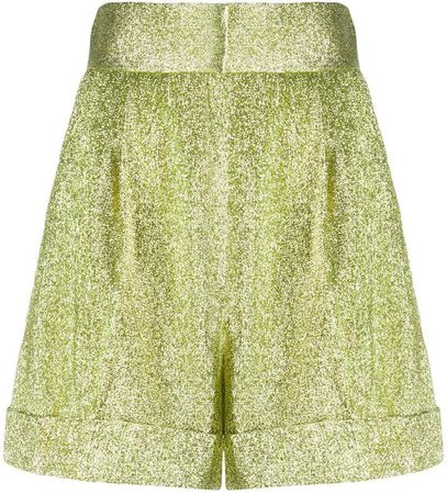 High-Rise Pleated Lame Shorts