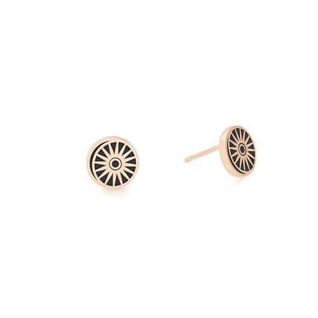 Cosmic Balance Post Earrings in 14kt Rose Gold Plated Sterling Silver| ALEX AND ANI