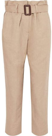 Belted Linen And Cotton-blend Tapered Pants - Beige