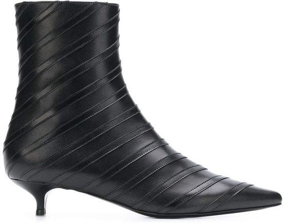 striped ankle boots
