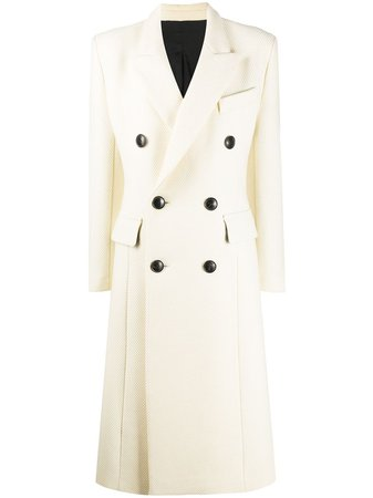 White AMI Paris double-breasted coat H20FM111221 - Farfetch