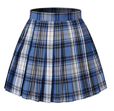 High Waisted Pleated Skirt - Blue Mixed White Black