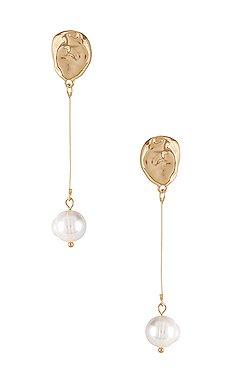 Vanessa Mooney The Celena Pearl Earrings in Gold | REVOLVE