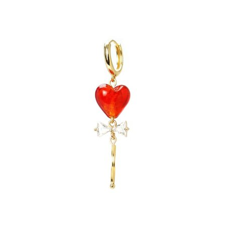 Guardian Hearts Wand Huggie Hoop Earring - Red, 18K Gold Vermeil | I'MMANY LONDON | Wolf & Badger
