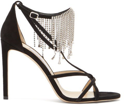 Bijou 100 Crystal-fringe Suede Sandals - Black
