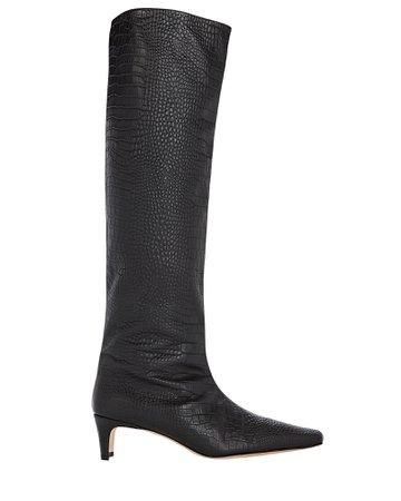STAUD Wally Croc-Embossed Knee-High Boots | INTERMIX®