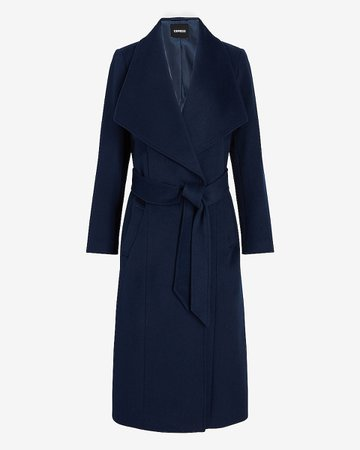 Wool-blend Belted Shawl Collar Wrap Coat | Express