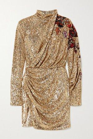 Draped Sequined Tulle Turtleneck Mini Dress - Gold