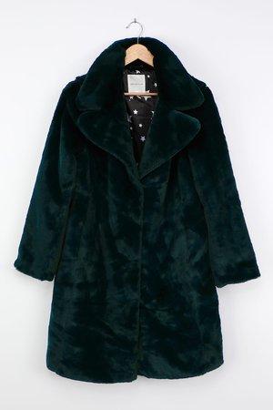 Avec Les Filles - Emerald Green Faux Fur Coat - Longline Coat - Lulus