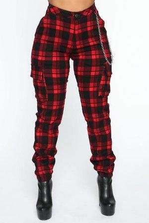 Never Over Plaid Joggers - Red, Pants | Fashion Nova