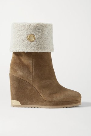 W Short Shearling-lined Suede Wedge Ankle Boots - Tan