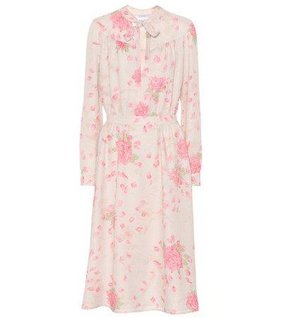 Rose-printed silk dress
